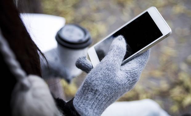 おしゃれなスマホ対応手袋の写真